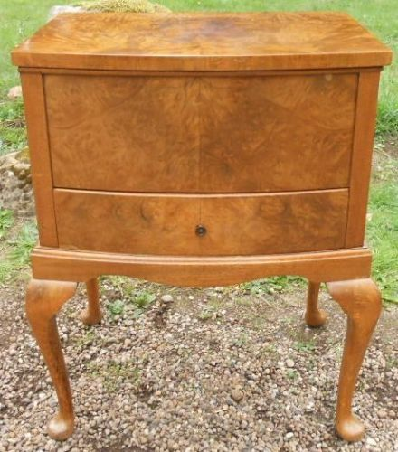 Walnut Bowfront Sewing / Jewellery Box Cabinet